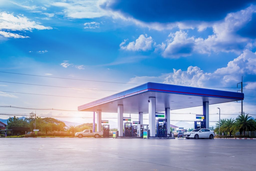 Gas Station With Beautiful Sky