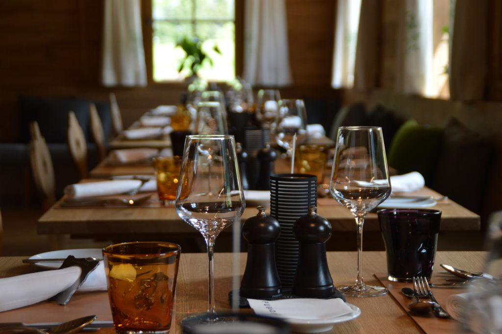 Restaurant Tables with Drinking Glasses