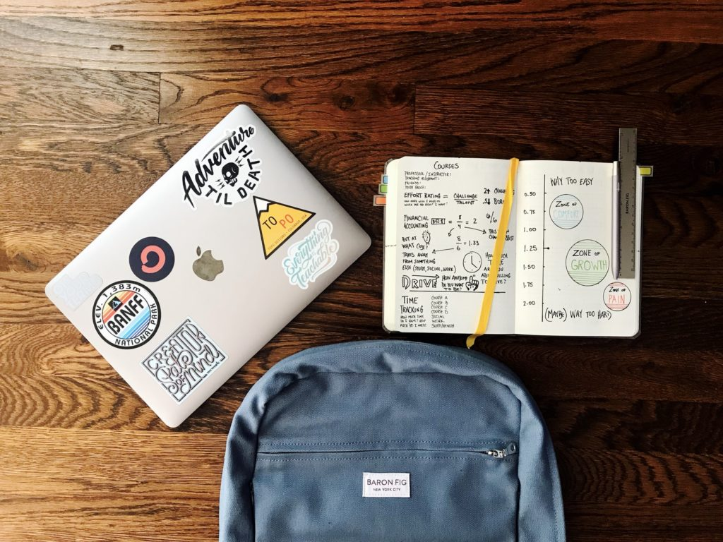College School Supplies on Table